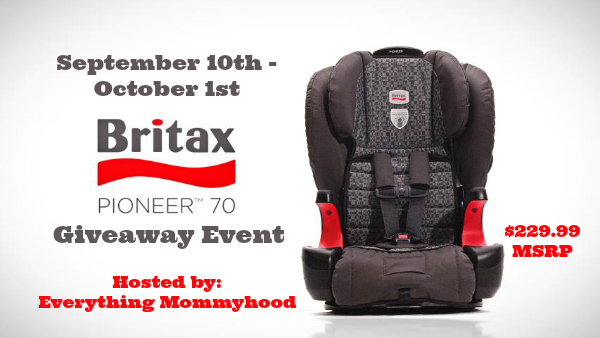 Britax Pioneer 70 Giveaway Event, Runs Sept 10 - Oct 1