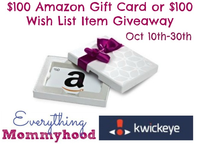 Enter the $100 Amazon Gift Card Giveaway, sponsored by Kwickeye. Ends 10/30.
