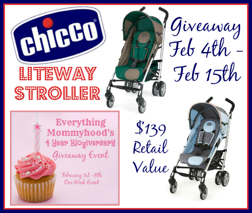 af7f8568ea0 Thanks so much to Chicco for this wonderful giveaway prize of the Chicco  Liteway Stroller!