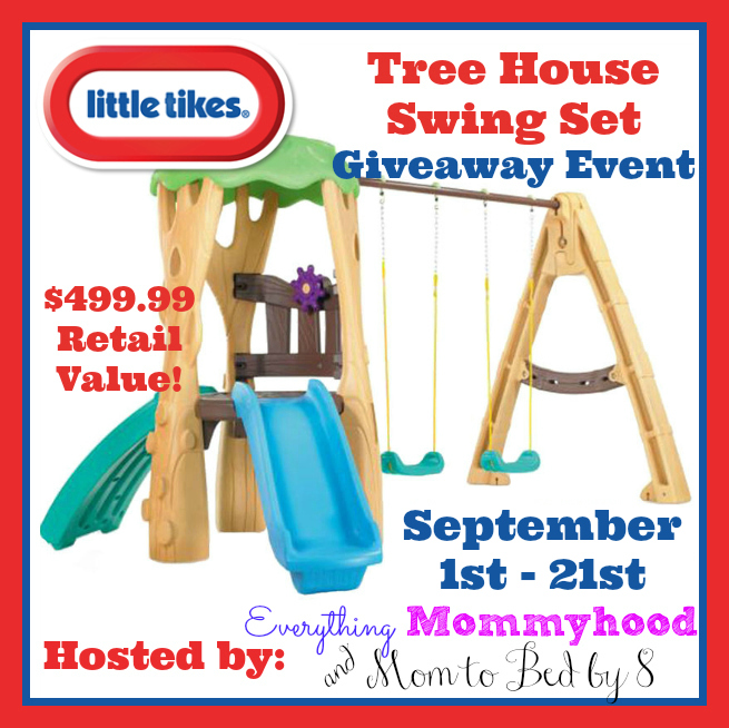 Enter the Little Tikes Tree House Swing Set Giveaway . Ends 9/22.